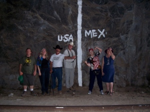 At the border in the tunnel