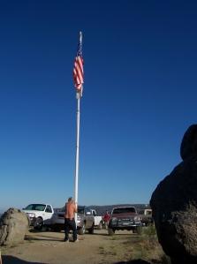 Dog raises the flag on Fathers day 15JUN08