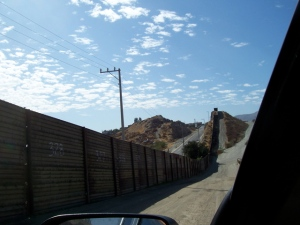 Old Fence in Tecate with Mexico on the left
