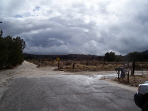 Storm clouds at the end of Jewel Valley Road