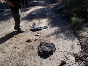 Backpack full of food and clothes in Smith Canyon