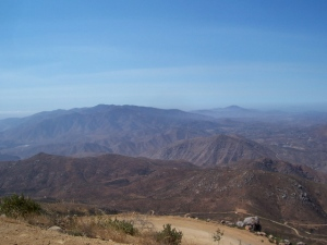 Looking west-The Dog House and Little Tecate Peak from the top of Tecate Peak