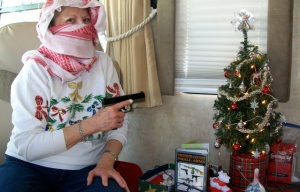Santa brought Mom a shemagh and a Glock 23
