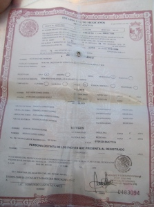 Mexican Birth certificate found in backpack