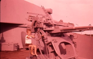 A very faded photo of a young C1 on the Battleship Texas