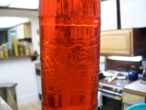 Actually Big Red in an antique Woosie bottle