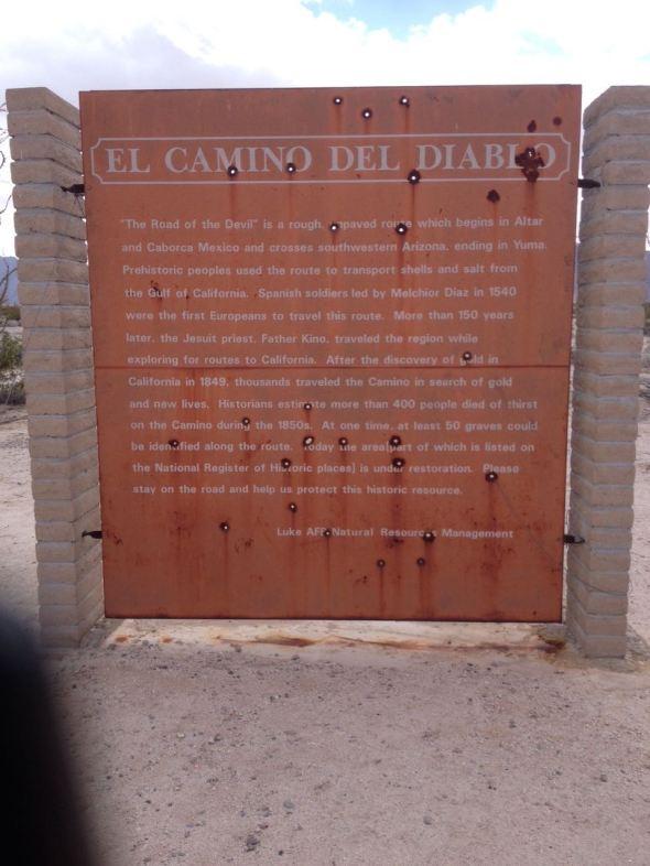 El Camino Del Diablo sign