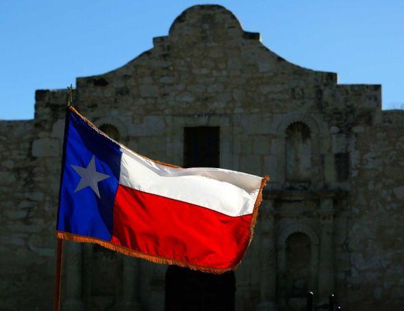 Alamo and flag